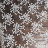 Free Shipping White Floral Cotton Embroidered Lace Fabric Organza Mesh Fabrics 150cm Wide RS397