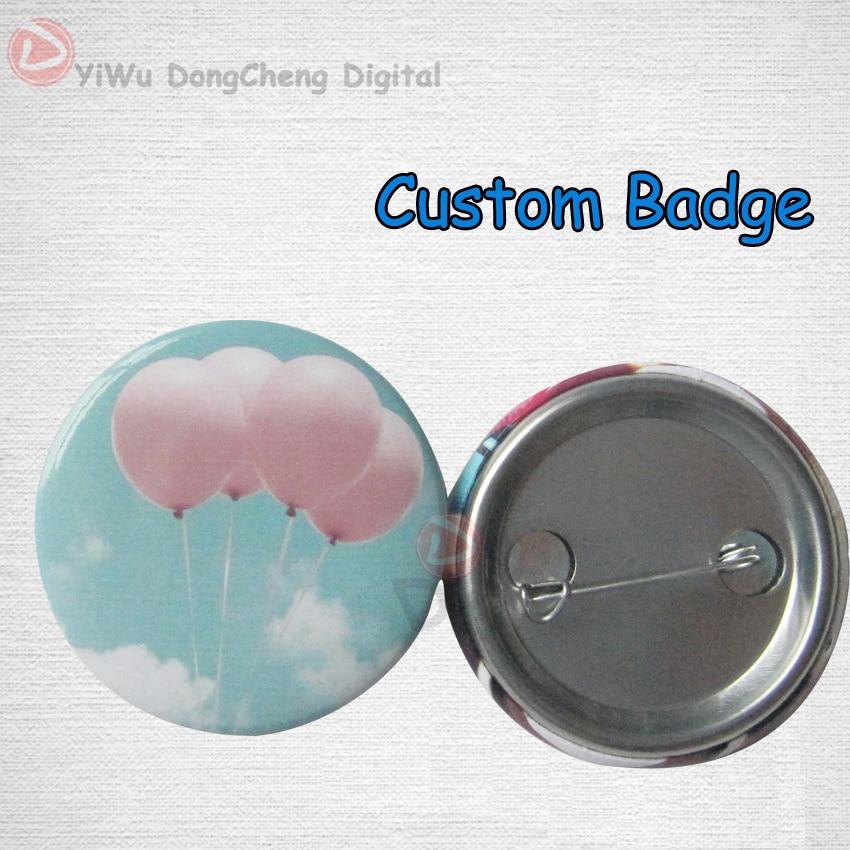 Free shipping custom pin badge 44mm (Metal pin back) 100PCS custom free 100