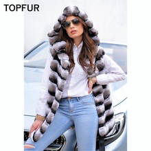 TOPFUR Fashion Winter Real Fur Vest With Hood Luxury New Natural Rex Rabbit Female 75 CM Length Waistcoat