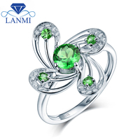 Flower Shape Natural Tsavorite Ring Real 14K White Gold Fine Jewelry Luxury Christmas Best Gift For