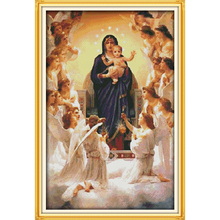 Joy sunday The Virgin Mary and her son  Chinese cross stitch kits Ecological cotton stamped printed 11CT DIY wedding decoration