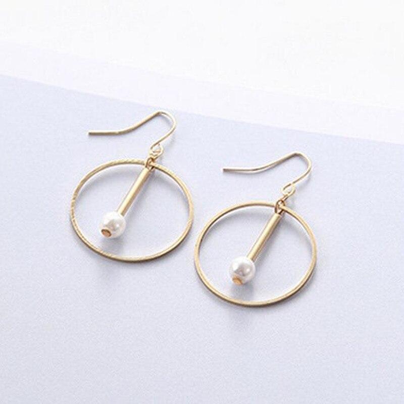 geometric earrings vintage circle drop pearl minimalist earring star hoop for women personalized fashion jewelry jhumka 2018 gold earrings for women
