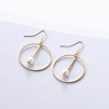 geometric earrings vintage circle drop pearl minimalist earring star hoop for women personalized fashion jewelry jhumka 2018(China)