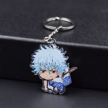 7 Styles Gintama Keychain Sakata Gintoki Fashion Jewelry Key Chains Custom made Anime Key Ring FQ1