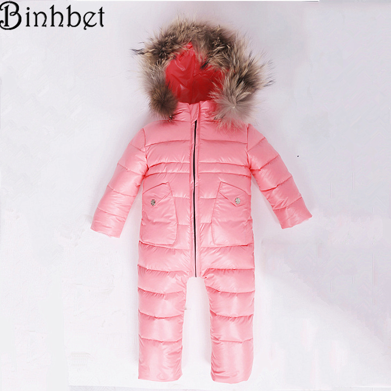 Binhbet Jumpsuit Kids Winter Baby Snowsuit + Nature Fur  90 Duck Down Jacket for Girls Coats Winter Park for Boys Overalls