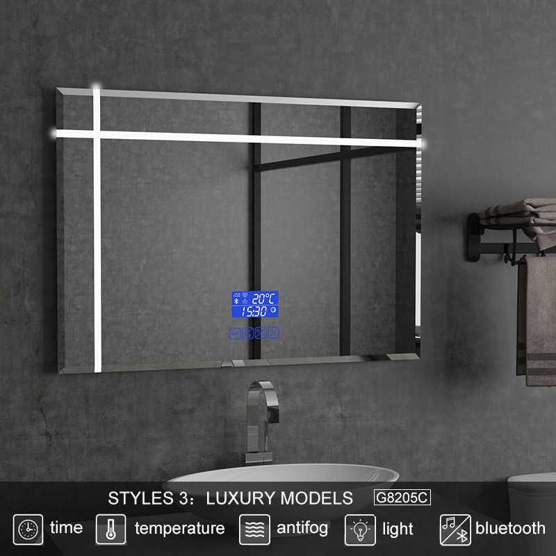 Gisha tamaño personalizado iluminado espejo inteligente LED bluetooth espejo de baño retroiluminado espejo Defogger baño espejo de maquillaje 2G8205