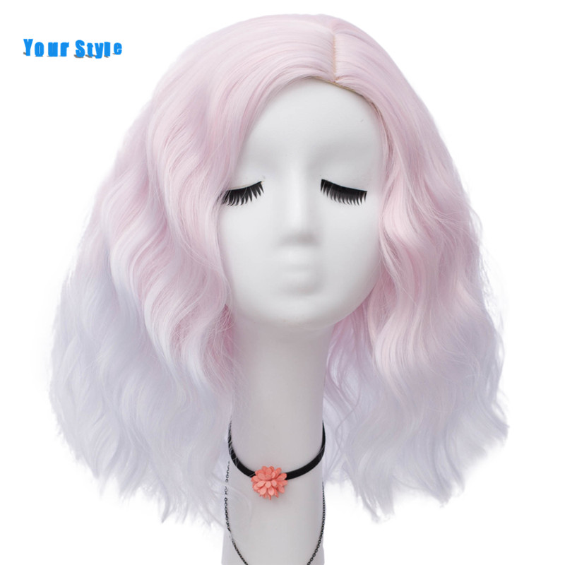 Image 3 - Your Style Synthetic Ombre Colored Wigs Cosplay Party Female Orange Yellow Blunt BOB Hair Wigs With Bangs Heat Resistant Fiber-in Synthetic None-Lace  Wigs from Hair Extensions & Wigs