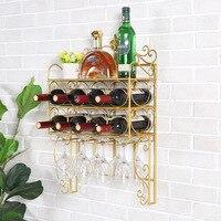 Wall Hanging Wine Rack Glass Cup Rack Upside Down Goblet Shelf Home Hanging Creative European Wine Bottle Holder Home Decor