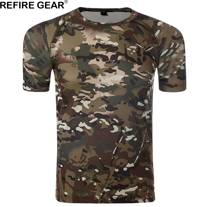 Refire Gear Outdoor Camouflage T-shirt Men Short Sleeve O Neck T Shirt Breathable Quick Dry ACU Hiking Camping Tshirt