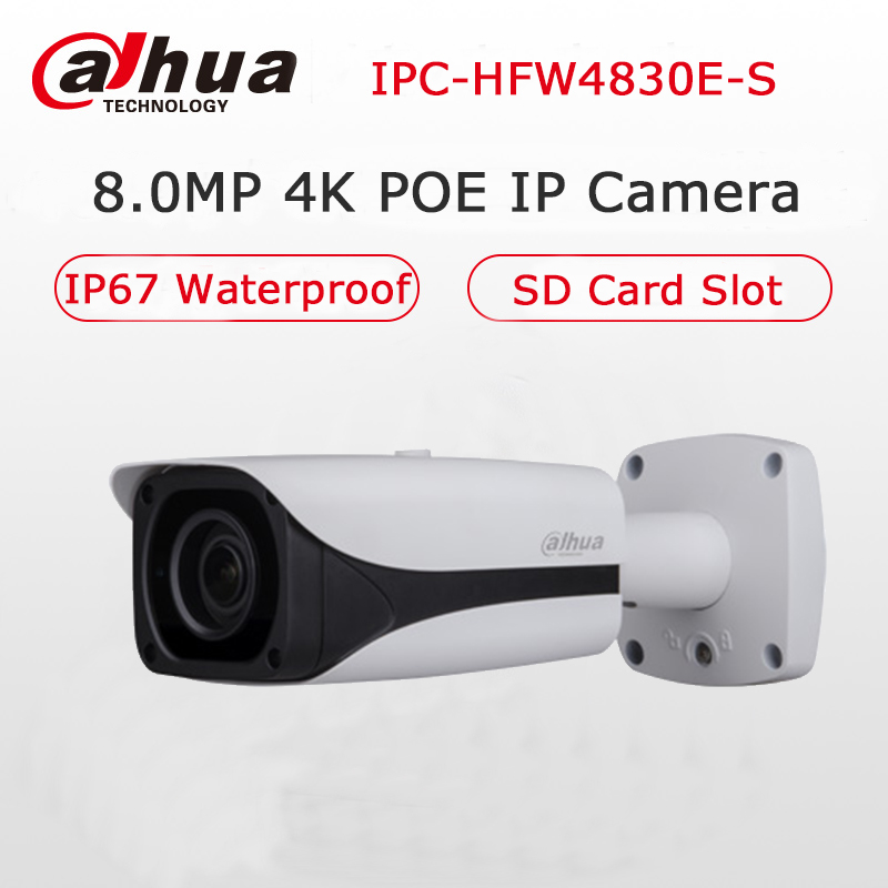 Original Dahua IPC-HFW4830E-S Mini Bullet Camera Ultra HD 8MP Built-in SD Card Slot IP67 IR 40M POE 4K IP Camera CCTV Upgradable free shipping dahua cctv camera 4k 8mp wdr ir mini bullet network camera ip67 with poe without logo ipc hfw4831e se