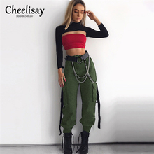 New 2019 Loose Casual Pants Ladies Summer Streamers Bag Buckle Street Harem Fashion Personality Pocket Strap