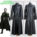 Cuero Matrix Neo largo negro capa del traje de Cosplay