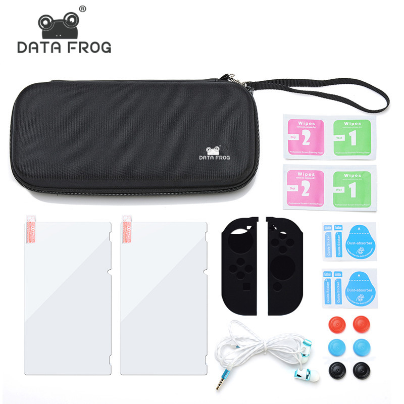 Data Frog For Nintend Switch Case Bag 12 in 1 Switch Accessories Tempered Glass Screen Protector Cases For Nintend Switch