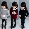 2017 Children Clothes Girls Spring Fall Fashion Lace Turtleneck Knitted Sweater Baby Kids Casual Knitwear With Flare Sleeve G365