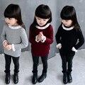 2017 crianças roupas meninas primavera outono moda rendas camisola de gola alta camisola de malha do bebê crianças casual malhas com manga flare g365
