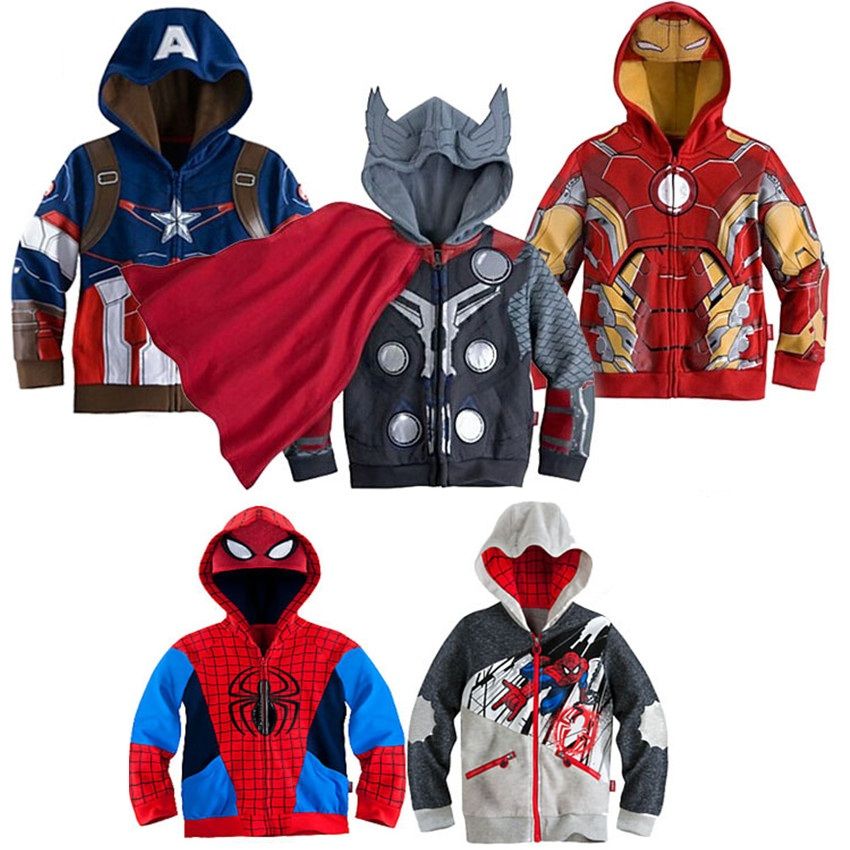 Hot Boy Spiderman Jacket Thor Outerwear Superhero Coat Boys Iron man Hoodies Coats Baby Kids Captain