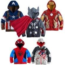 Chaude Garçon Spiderman Veste Thor Survêtement Super-Héros Manteau Garçons Iron man Hoodies Manteaux Bébé Enfants Captain America Shirts