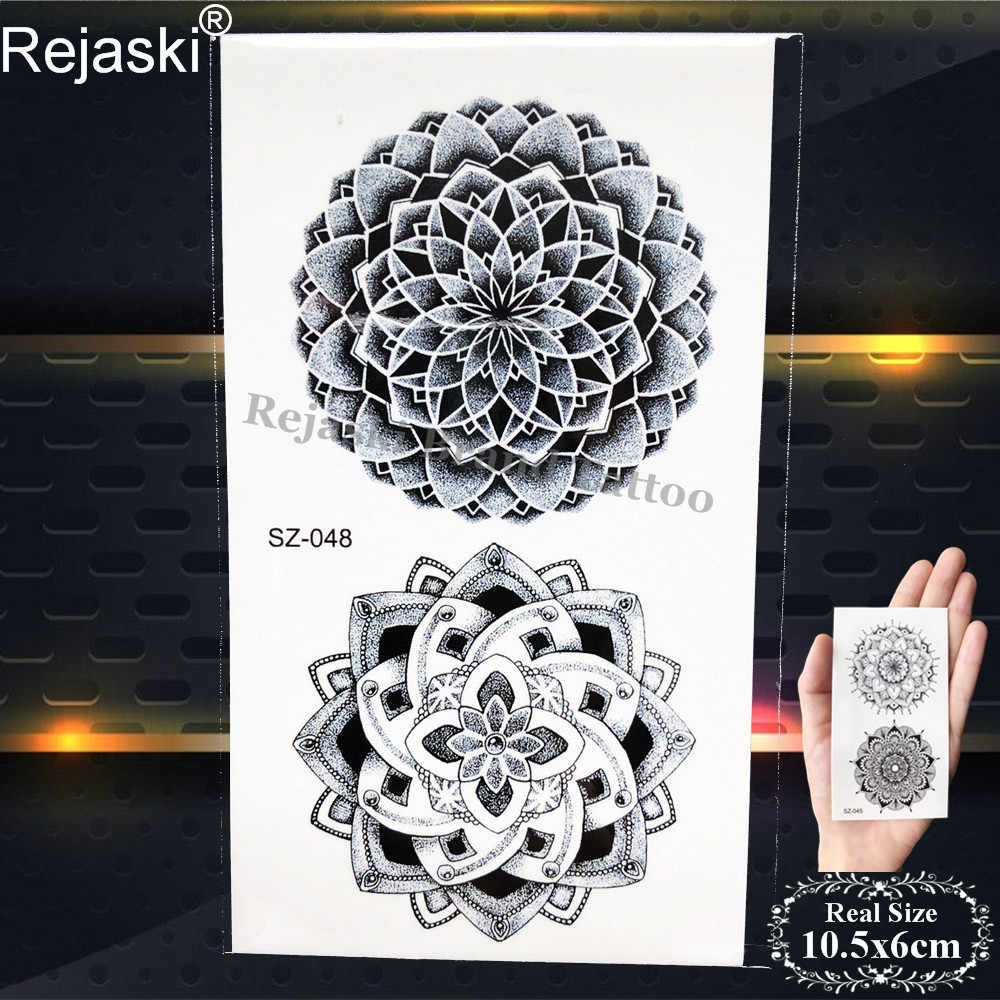 37237cfdb ... Rejaski Black Mandala Flower Temporary Tattoo Stickers Women Henna  Totem Arm Fake Tatoos Girls Small Feather ...