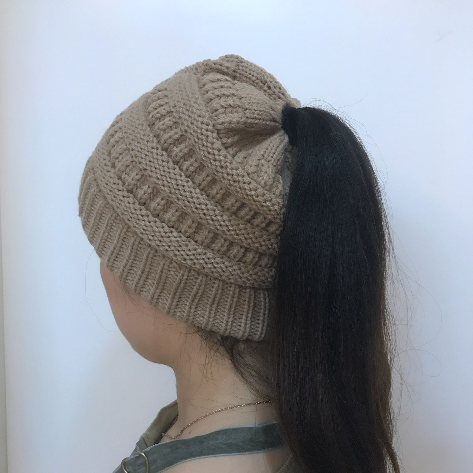 3fcbfe894 US $3.12 |2017 Winter Women Beanietail Messy High Bun Ponytail Stretchy  Knit Beanie Skull Hats Stylish Hole Hat AU-in Skullies & Beanies from  Apparel ...