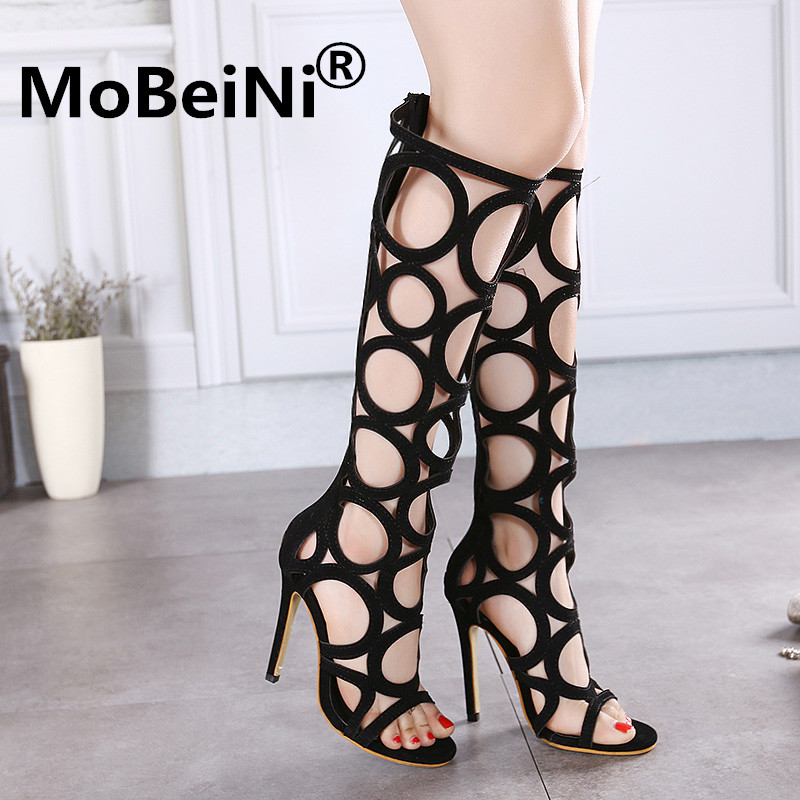 NEW Golden Cut-Outs Knee High Gladiator Cool Summer Boots Ultra High Heels Sandals Charming Open Toe Platform Summer Shoes Woman anmairon new cut outs knee high gladiator summer sandals boots women motorcycle boots high knee high boots shoes woman 7 colors