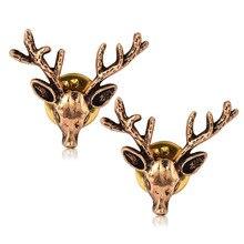 Hot Unisex Deer Head selling retro style collar clip antique desgin elk brooch pin 2018