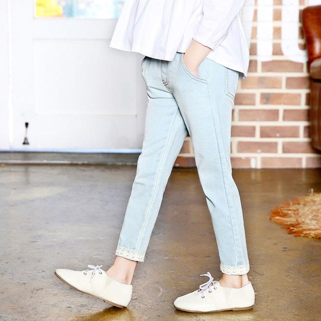 2016 chegada nova primavera outono meninas de jeans crianças roupa do bebê crianças calças compridas calças para 3-12Y 3620