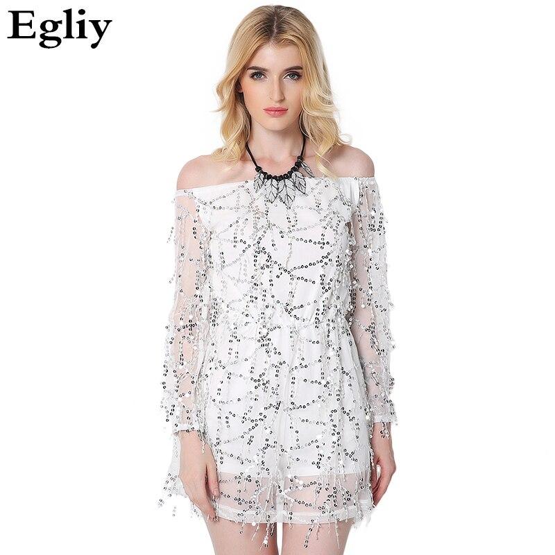 Buy Cheap Slash Neck Sexy backless off shoulder Dress sequin tassel summer dresses 2017 party short dress Women vintage dress vestidos