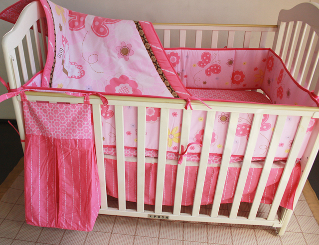 promotion 5pcs embroidery crib bed linen cot baby bedding