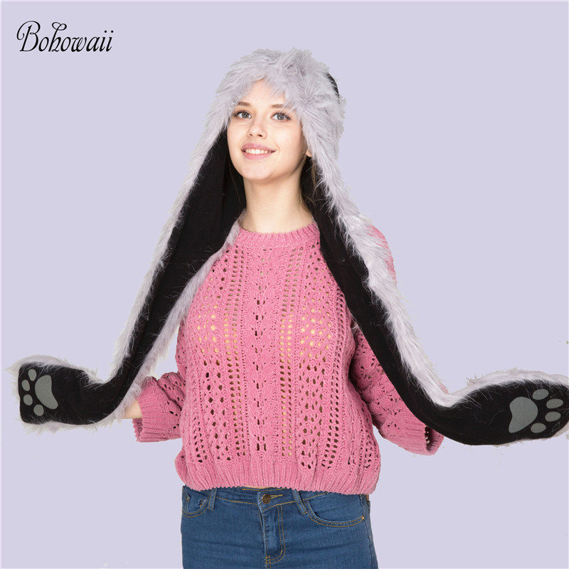 BOHOWAII Women s Winter Hats Scarf Paw Gloves 3 in 1 Set Wolf Animal Winter  Warm Cachecol b92d3c7d9911