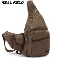 Real Field RF Men Canvas Backpack Kaukko Shoulder Bag Fashion Vintage Casual Crossbody Chest Zip Bag