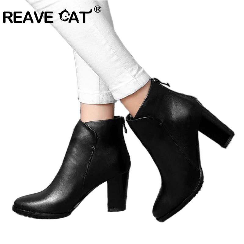 REAVE القط جلد طبيعي الجلد المدبوغ السيدات حذاء من الجلد عالية الجودة منتصف كتلة الكعوب المدببة تو البريدي الصلبة قطيع النساء الخريف الشتاء-في أحذية الكاحل من أحذية على  مجموعة 1
