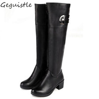 Fashion Women Knee High Boots Sexy Flat Winter Warm Grid Solid Color Riding Boots Women Winter