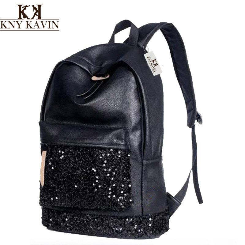KNY KAVIN Women Backpack Big Capacity Embroidered Sequins Backpack Girls Leather Backpack School Shoulder Bags New 2017 Fashion