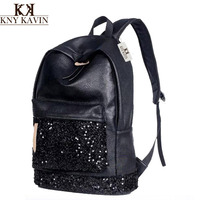 New 2016 Fashion Women Backpack Big Crown Embroidered Sequins Backpack For Woman Wholesale Women Leather Backpack