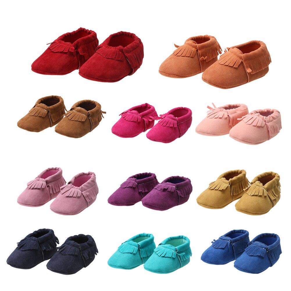 PU Suede Leather Newborn Baby Boy Girl Baby Moccasins Soft Moccs Shoes Bebe Fringe Soft Soled Non-slip Footwear Crib Shoe