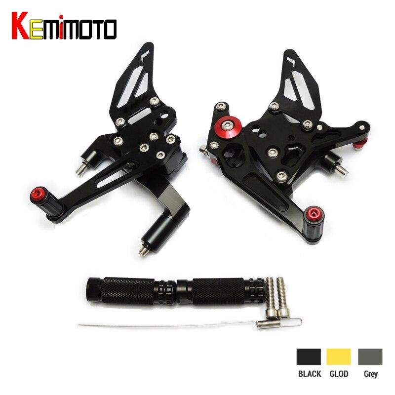 KEMiMOTO подставки для ног для DUCATI 899 1199 PANIGALE S R 2012 2013 2014 2015 Регулируемые Rearsets сзади Устанавливает подножки педаль