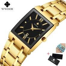 Hot Top Brand Luxury WWOOR Mens Watches Golden Square Analog Quartz Watch Men Wristwatch Waterproof  Male Wrist Watch Man Clock