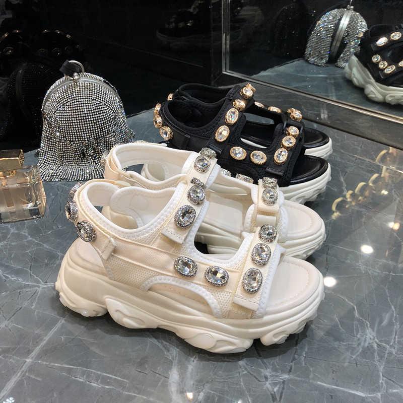 Prova Perfetto Lưới Giày Sandal Nữ Thoáng Khí Đế Nữ Nêm Bãi Biển Mùa Hè Thời Trang Pha Lê Sandalias Femmes Zapatos