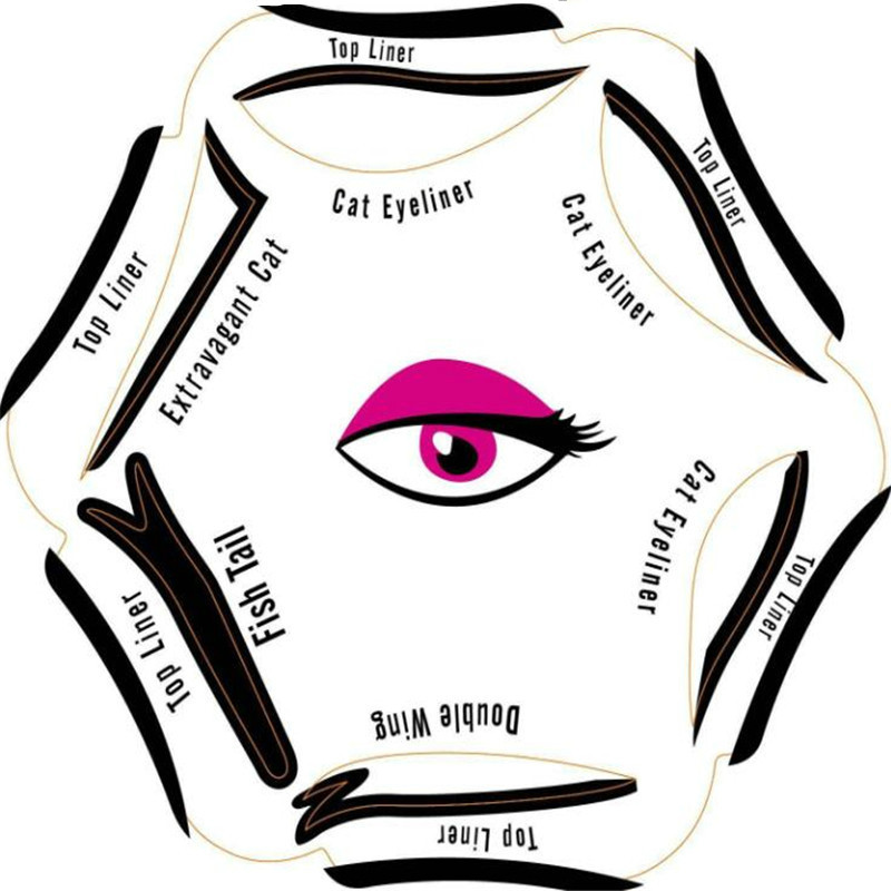 6 in 1 Stencils Eyeliner Template Smoky Makeup Sets Guide Cat Eye Liner Quick Tool Hot Sale New