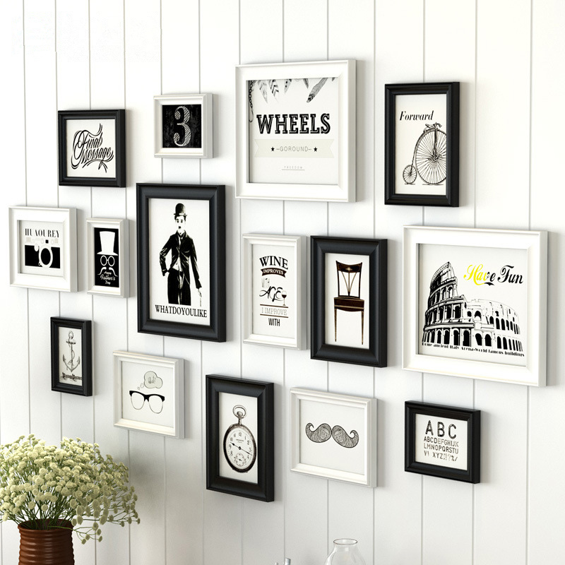 creative white black design home decor wall hanging photo frames wooden photo frame set 15 pcs - Wall Hanging Photo Frames Designs