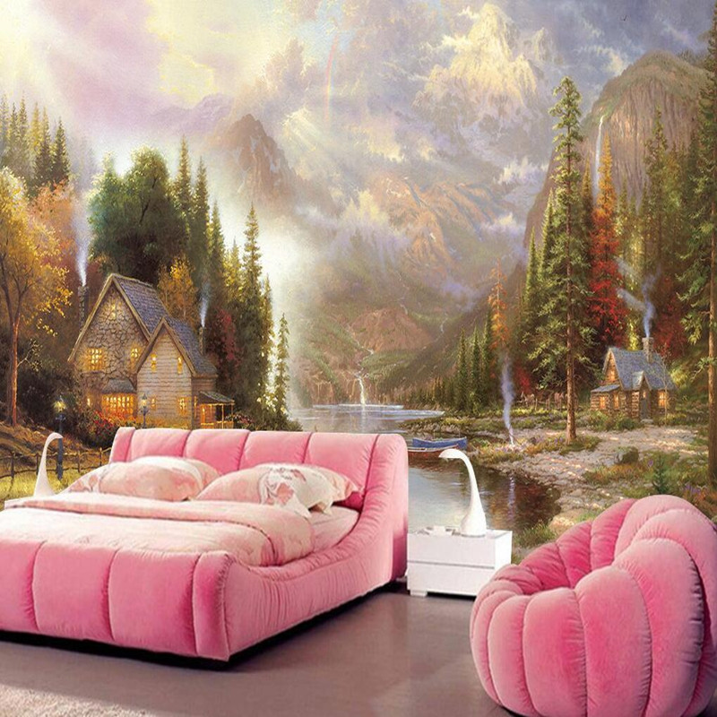 Custom any Size 3D Wall Murals Scenery Wallpaper 3D Thomas European Style Murals Oil Painting Hut Backdrop Wall Mural Wallpapers custom 3d wall murals wallpaper european style hand painted pastoral flower bird wall painting living room decoration wall mural