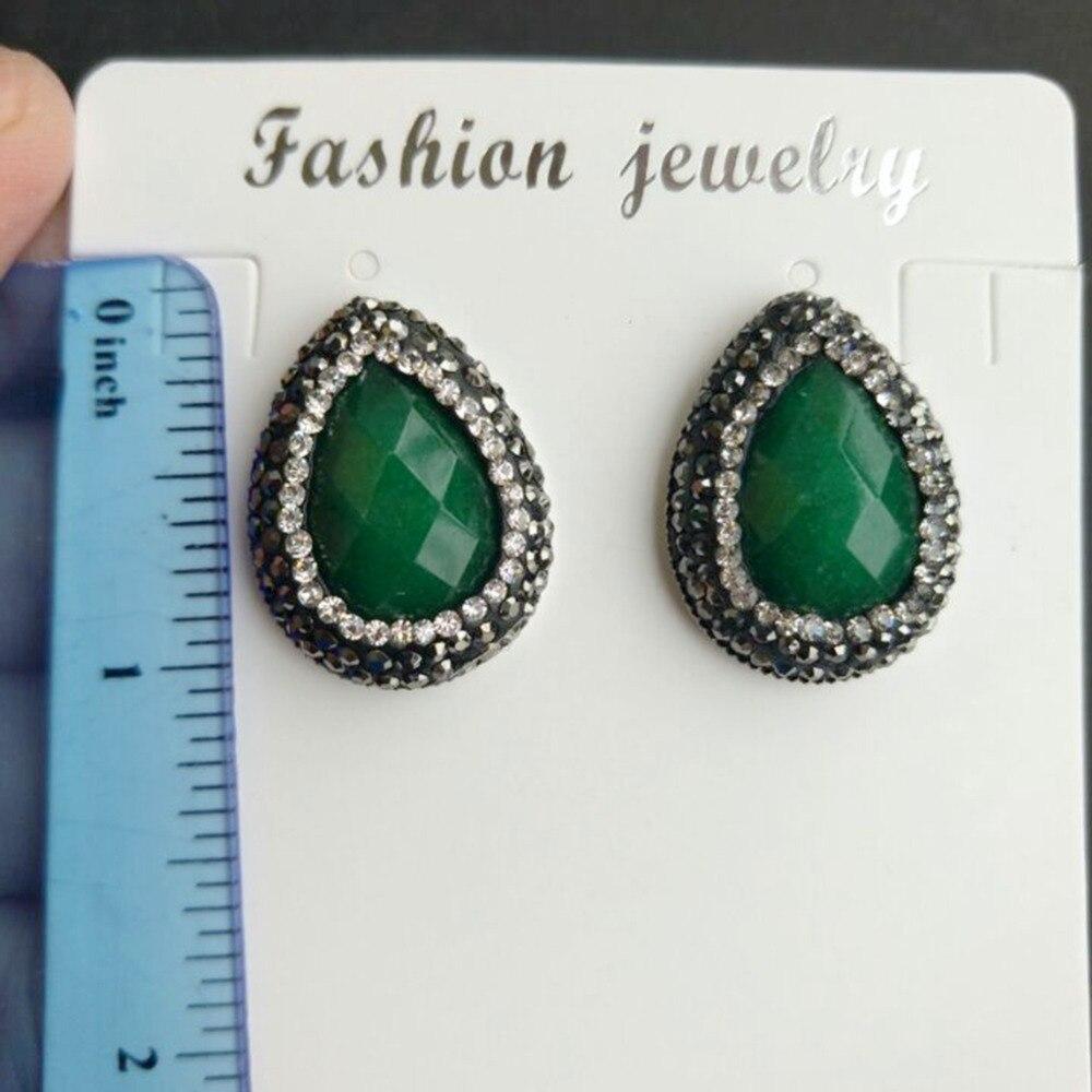 Water Drop Green Stone Stud Earrings with Black Rhinestone Women Fashion Jewlelry Costume Jewelery Earrings Bijoux Femme Gifts