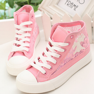 White Black Pink Lace Hollow Out Flat Heel High Top Lace Sneakers  Breathable Mesh Canvas Shoes-in Men s Casual Shoes from Shoes on  Aliexpress.com  4b9d35650b9c