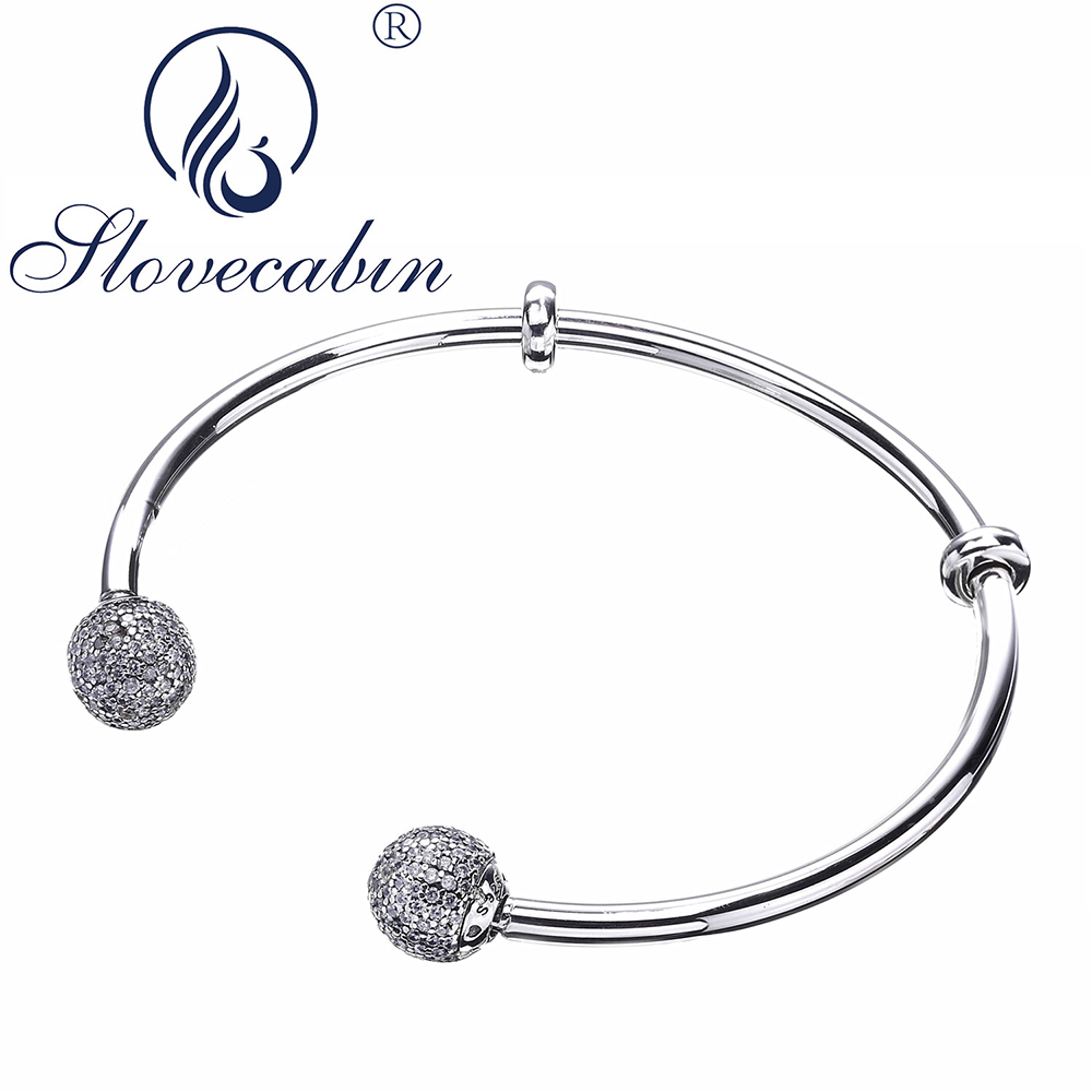 Slovecabin 925 Sterling Silver Moment Crystal Bangles Femme Argent Silver Open Bangle Bracelet For Women Sterling Silver Jewelry