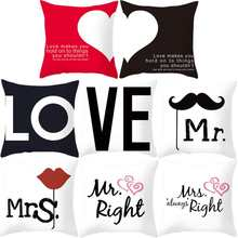 1PC Creative Cartoon Letter Couple Mr & Mrs Mickey Mouse Mr Right Throw Pillow Case Cushion Case Home Textile Home Decor(China)