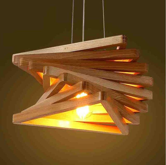modernas artes araa de madera minimalista diseo triangular lmpara de techo de madera para comedor dormitorio decoracin unids