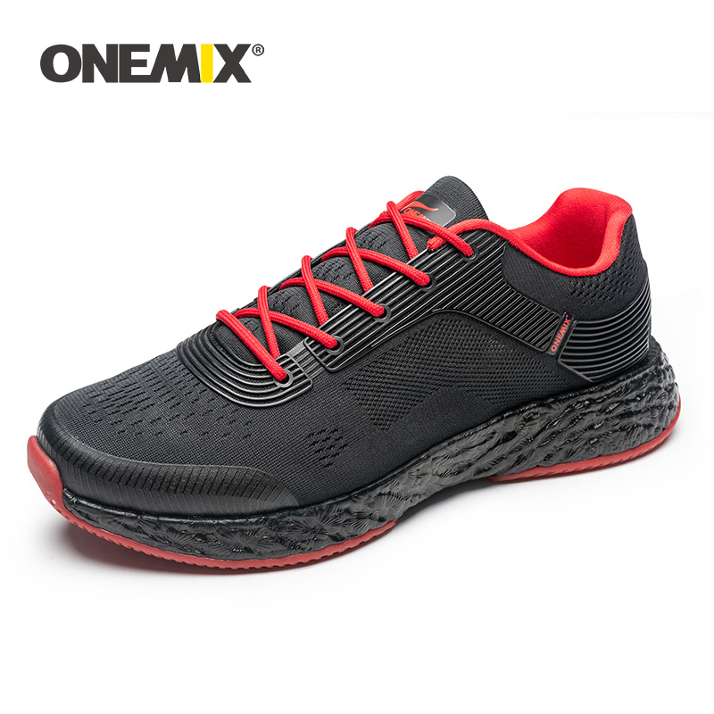 ONEMIX Man Running Shoes For Men Athletic Trainers Black Red Run Zapatillas Tennis Sport Shoes Outdoor