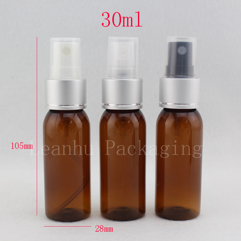 30ml brown color plastic bottle with perfume aluminum sprayer pump , empty cosmetic packaging bottles with spray 30cc