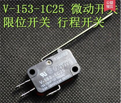 Contatos em liga de prata interruptor micro v-153-1c25, interruptor de acção