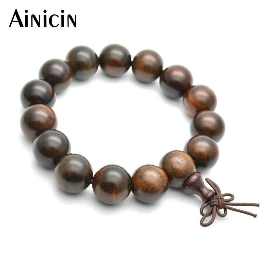 Golden Sandalwood 15mm Diameter Strand Bead Bracelets For Men and Women Prayer Mala Jewelry Buddhism Gift